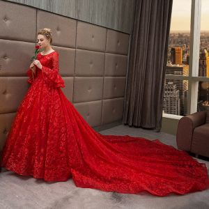 Chic / Beautiful Red Wedding Dresses 2018 Ball Gown Star Scoop Neck Long Sleeve Backless Cathedral Train Wedding