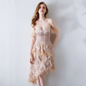 Sexy Nude Evening Dresses  2019 Off-The-Shoulder Short Sleeve Asymmetrical Backless Formal Dresses