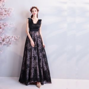 Chic / Beautiful Black 2018 Summer Evening Dresses  V-Neck Tulle Lace-up Sleeveless A-Line / Princess Floor-Length / Long Crossed Straps Backless Printing Evening Party Formal Dresses