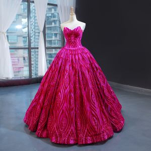 Luxury / Gorgeous Fuchsia Dancing Prom Dresses 2020 Ball Gown Sweetheart Sleeveless Appliques Lace Beading Floor-Length / Long Ruffle Backless Formal Dresses