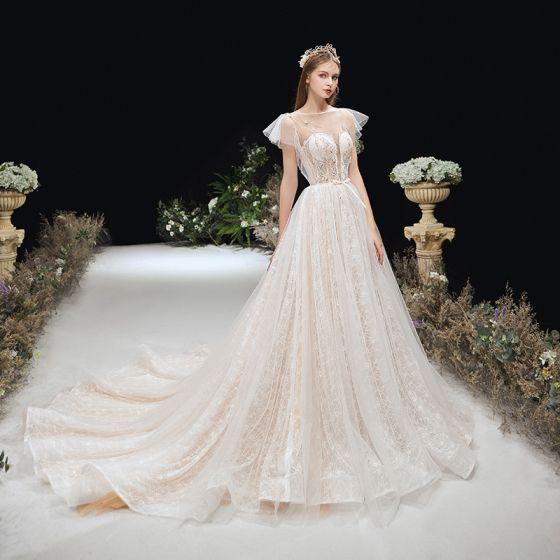 Champagne Genomskinliga Lätt Bröllopsklänningar 2020 Prinsessa Bell ärmar Fyrkantig Ringning Halterneck Beading Rosett Skärp Domstol Tåg Ruffle