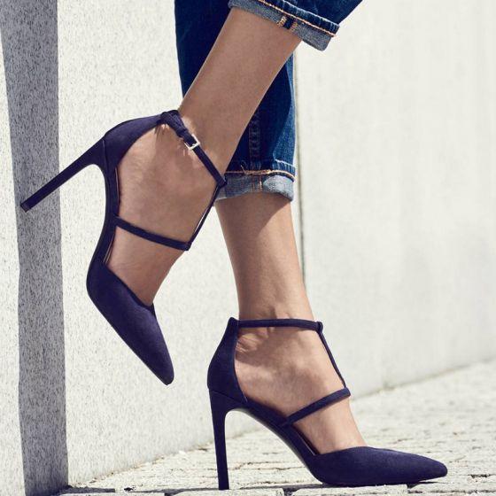 Modest / Simple Black Street Wear Womens Sandals 2020 Ankle Strap 9 cm Stiletto Heels Pointed Toe Sandals