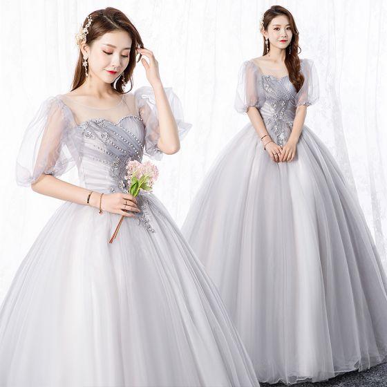 Elegant Grey Prom Dresses 2020 A-Line / Princess Scoop Neck Pearl Lace Flower 1/2 Sleeves Backless Floor-Length / Long Formal Dresses