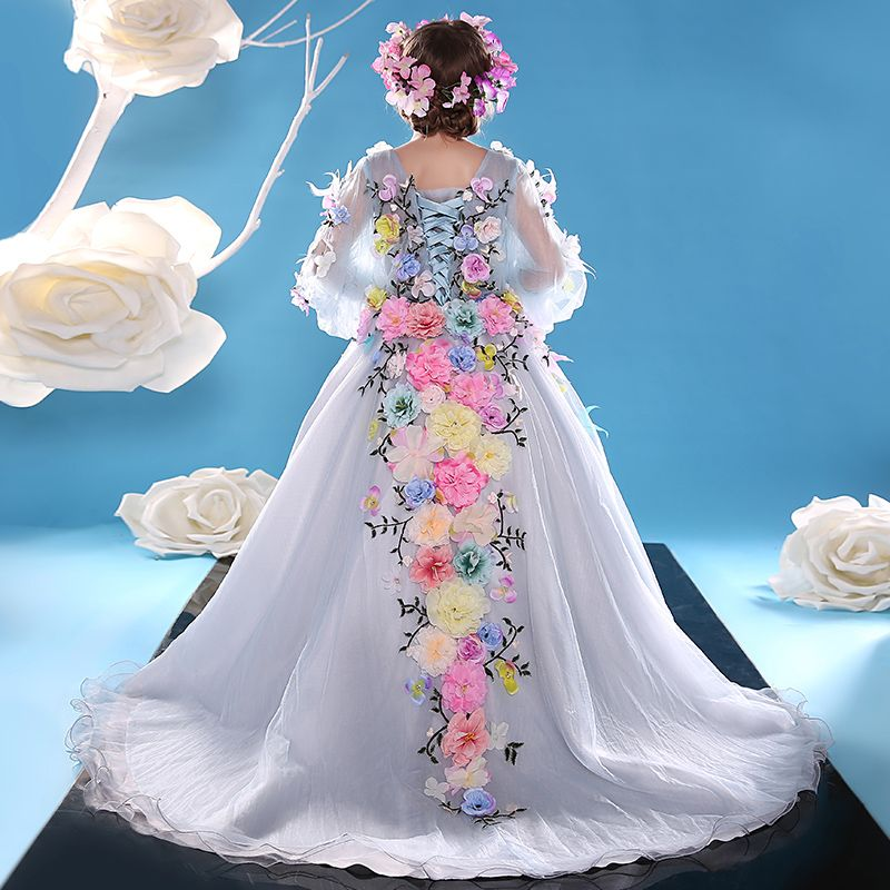 Chic / Beautiful Church Wedding Party Dresses 2017 Flower Girl Dresses Sky Blue A-Line / Princess Court Train V-Neck Long Sleeve Backless Flower Appliques Rhinestone Feather Artificial Flowers