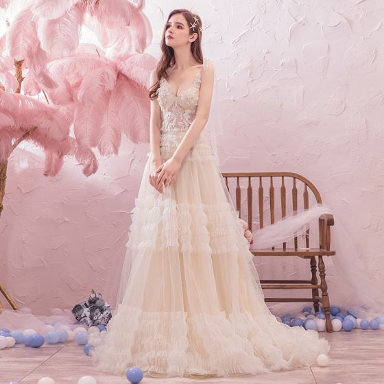 Romantic Outdoor / Garden Summer Champagne Wedding Dresses 2019 A-Line / Princess Spaghetti Straps Sleeveless Backless Appliques Lace Beading Sweep Train Ruffle
