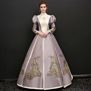 Vintage / Retro Champagne Floor-Length / Long Prom Dresses 2018 Lace-up Charmeuse High Neck Appliques Evening Party Ball Gown Formal Dresses