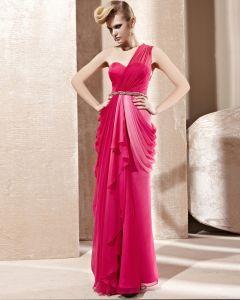 One Shoulder Sweetheart Neck Ruffle Rhinestone Belt Sleeveless Backless Floor Length Charmeuse Woman Evening Dress