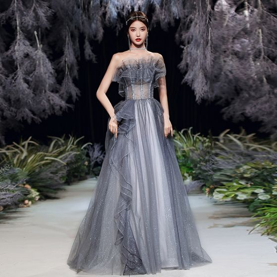 Illusion Grey See-through Prom Dresses 2020 A-Line / Princess Strapless Sleeveless Beading Glitter Tulle Sweep Train Ruffle Backless Formal Dresses