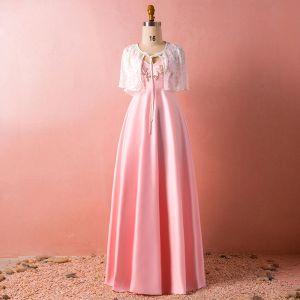 Chic / Belle Rose Bonbon Grande Taille Robe De Soirée 2018 Princesse Avec Châle V-Cou Charmeuse Perlage Cristal Soirée Robe De Ceremonie