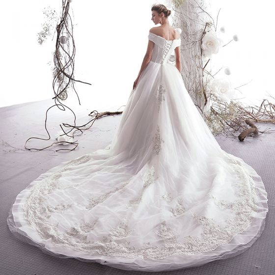 Elegant Ivory 2019 Wedding Dresses A-Line / Princess Off-The-Shoulder Beading Sequins Lace Flower Short Sleeve Backless Royal Train