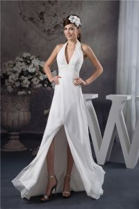 2015 Charming A-line Halter V Neck Beading Sash Long Dress White Graduation Dress Homecoming Dress