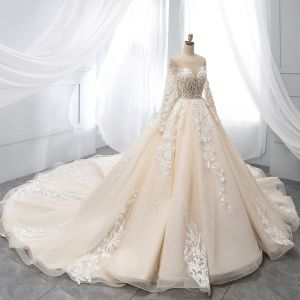 Chic / Beautiful Champagne Wedding Dresses 2019 A-Line / Princess Scoop Neck Lace Flower Appliques Beading Pearl Sequins Long Sleeve Backless Cathedral Train