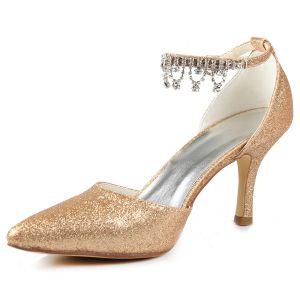 Escarpins Étincelant Champagne Chaussures De Mariée Glitter Stilettos Talons Avec Bride À La Cheville