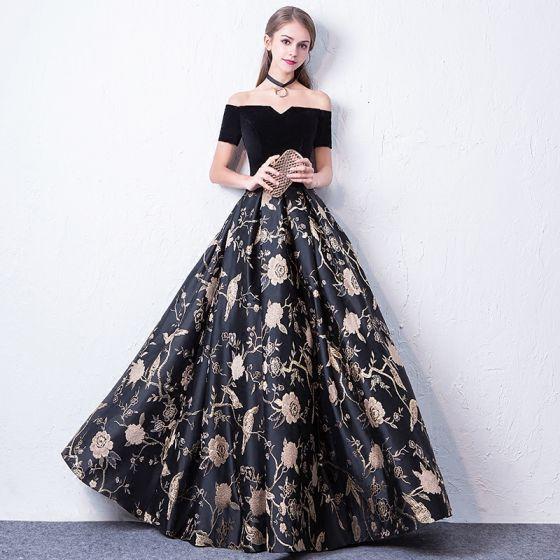 Sencillos Negro Vestidos de gala 2017 A-Line / Princess Fuera Del Hombro Manga Corta Bordado Largos Sin Espalda Vestidos Formales