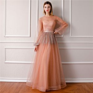Bling Bling Orange See-through Evening Dresses  2019 A-Line / Princess Scoop Neck Puffy Long Sleeve Glitter Tulle Floor-Length / Long Ruffle Formal Dresses
