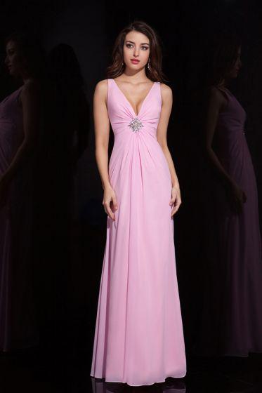 2015 Delicate Beautiful A-line Long Pink Evening Dress