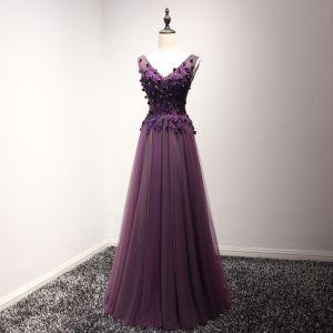 Chic / Belle Robe De Ceremonie 2017 Robe De Soirée Grape Princesse Longue V-Cou Sans Manches Dos Nu En Dentelle Fleur Appliques Perlage Perle
