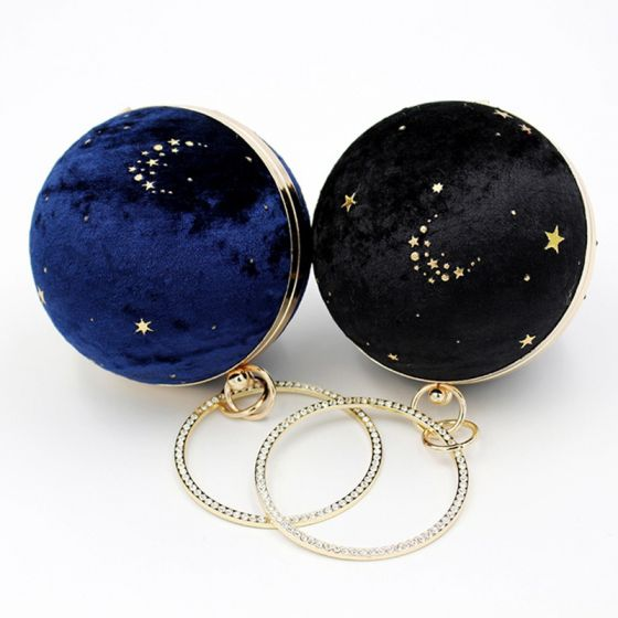 Starry Sky Round Suede Clutch Bags 2020 Metal Rhinestone Star Embroidered