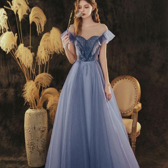Eleganckie Ciemnoniebieski Sukienki Na Bal Princessa 2021 Wycięciem Rhinestone Cekiny Kótkie Rękawy Bez Pleców Długie Sukienki Wizytowe
