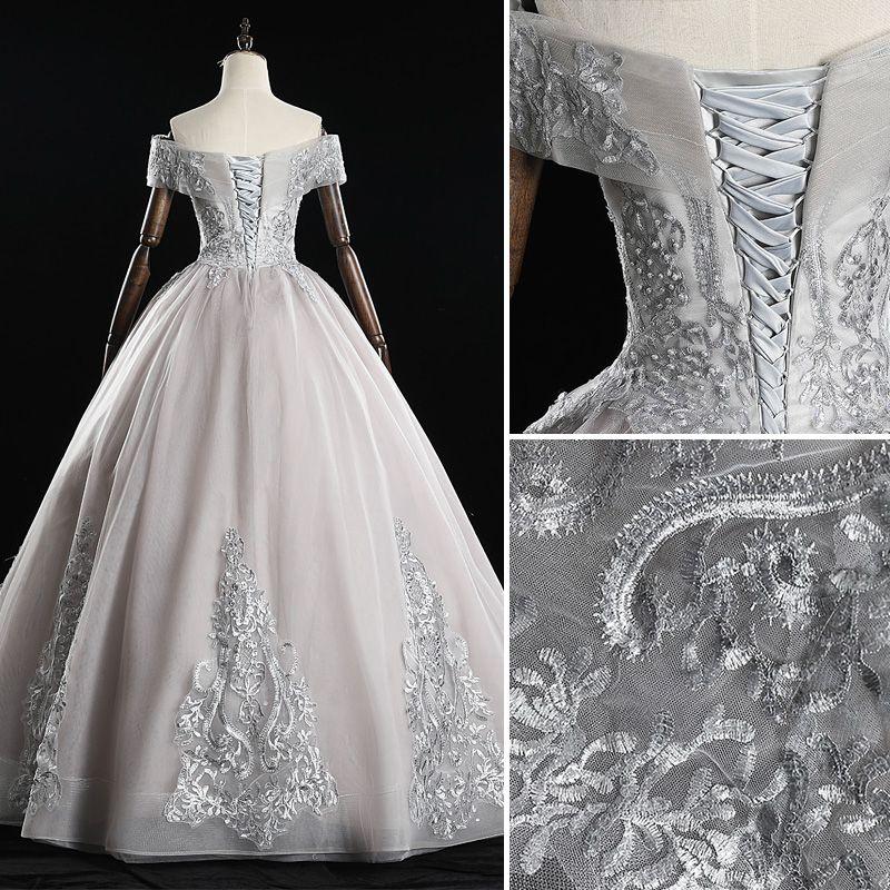 Elegant Grey Prom Dresses 2019 A-Line / Princess Off-The-Shoulder Pearl Lace Flower Short Sleeve Backless Floor-Length / Long Formal Dresses