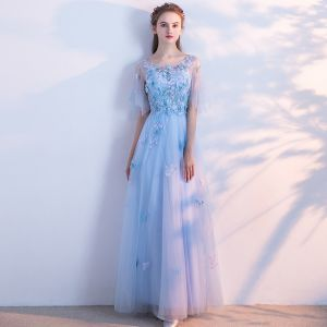 Chic / Beautiful Sky Blue Evening Dresses  2018 A-Line / Princess Lace Butterfly Scoop Neck Backless Short Sleeve Floor-Length / Long Formal Dresses