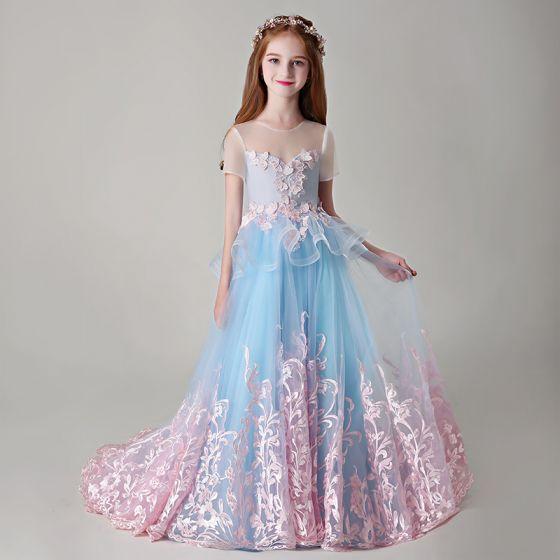 Najlepiej Niebieskie Przezroczyste Sukienki Dla Dziewczynek 2019 Princessa Wycięciem Kótkie Rękawy Różowy Perłowy Aplikacje Z Koronki Trenem Sąd Wzburzyć Bez Pleców Sukienki Na Wesele