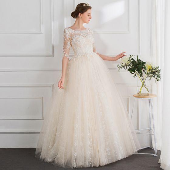Mode Champagner Brautkleider 2018 Ballkleid Perlenstickerei Perle Applikationen Rundhalsausschnitt 1/2 Ärmel Lange Hochzeit