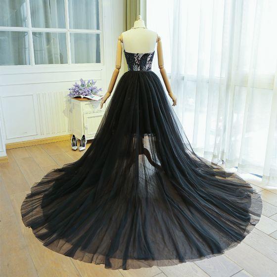 Charming Black Evening Dresses  2019 A-Line / Princess Strapless Lace Flower Sleeveless Backless Watteau Train Formal Dresses