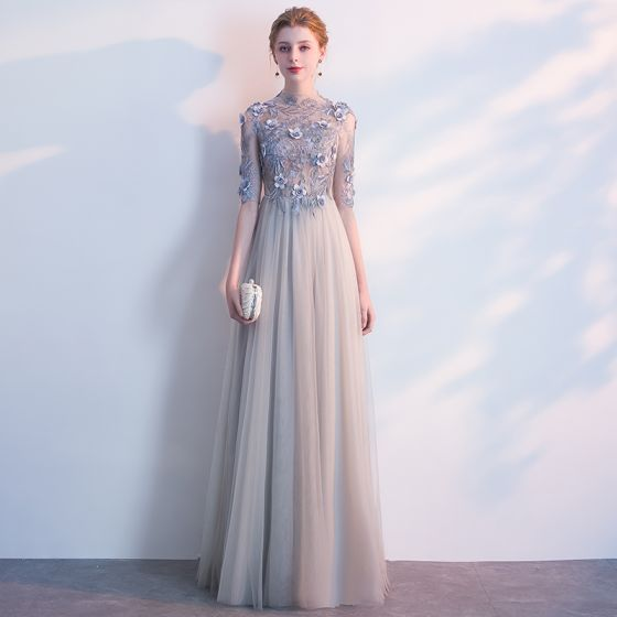 Eleganckie Szary Sukienki Wieczorowe 2018 Imperium Z Koronki Kwiat Aplikacje Perła Wycięciem Bez Pleców 1/2 Rękawy Długie Sukienki Wizytowe
