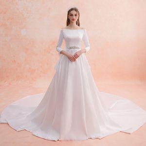 Elegante Ivory / Creme Brautkleider / Hochzeitskleider 2019 A Linie Off Shoulder Perle Strass 3/4 Ärmel Rückenfreies Schleife Königliche Schleppe