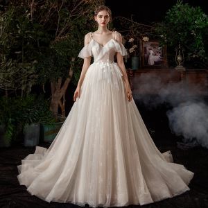 Champagne Outdoor / Garden Light Wedding Dresses 2020 A-Line / Princess Spaghetti Straps Short Sleeve Backless Glitter Tulle Sweep Train Ruffle
