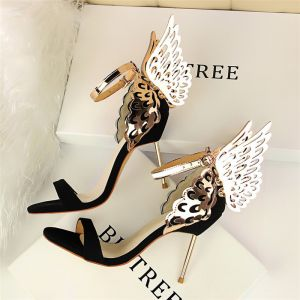 Amazing / Unique Black Cocktail Party Womens Shoes 2018 Ankle Strap 9 cm Stiletto Heels With Wings Open / Peep Toe High Heels