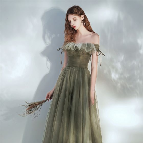 Fashion Clover Green Prom Dresses 2021 A-Line / Princess Off-The-Shoulder Short Sleeve Backless Floor-Length / Long Prom Formal Dresses