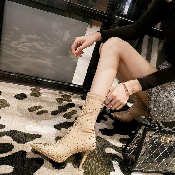 Moda Caqui Ropa de calle Invierno Cuero Botas de mujer 2020 Rhinestone 9 cm Stilettos / Tacones De Aguja Punta Estrecha Botas