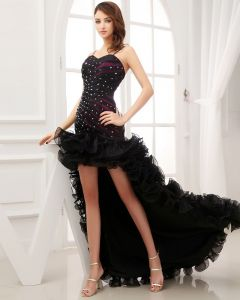 Asymetrical Length Spaghetti Straps Sleeveless Beading Pleated Organza Woman High Low Prom Dress