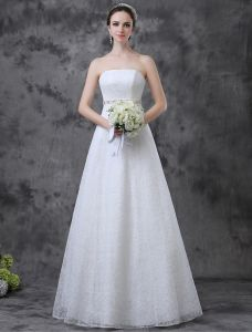 Simple Une Ligne De Robe De Mariée En Dentelle Bretelles Strass Ceinture