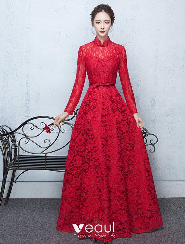 Robe De Soirée De Haute Cou Élégant Robe De Ceremonie Dentelle Rouge Avec  Écharpe Bowknot