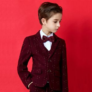 Fashion Burgundy Spotted Polyester Boys Wedding Suits 2020