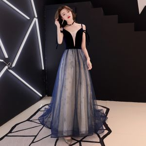 Elegant Navy Blue Evening Dresses  2019 A-Line / Princess Spaghetti Straps Suede Lace Star Sleeveless Backless Sweep Train Formal Dresses
