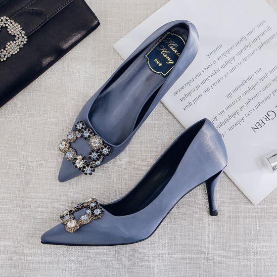 Fashion Ocean Blue Evening Party Pumps 2020 Satin Rhinestone 9 cm Stiletto Heels Pointed Toe Pumps