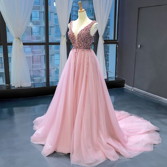 High-end Pearl Pink Evening Dresses  2020 A-Line / Princess Deep V-Neck Sleeveless Beading Chapel Train Ruffle Backless Formal Dresses