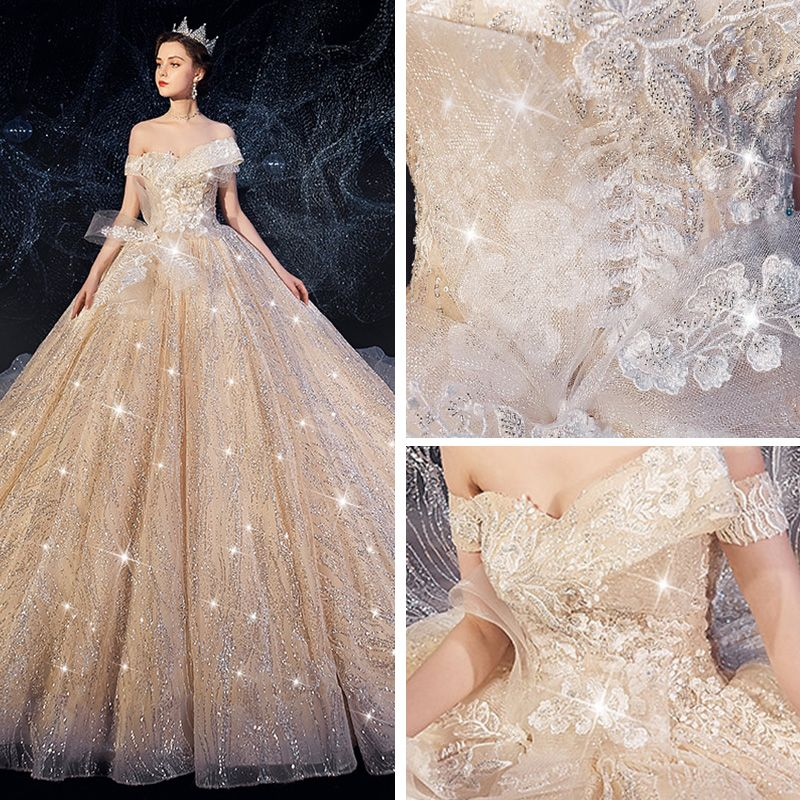 Sparkly Champagne Wedding Dresses 2019 Ball Gown Off-The-Shoulder Short Sleeve Appliques Lace Backless Glitter Sequins Tulle Chapel Train Ruffle