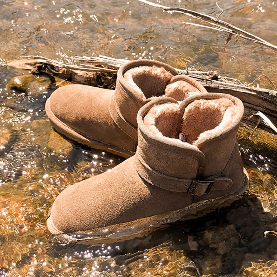 Mode Khaki Schneestiefel 2020 Leder Schnalle Ankle Boots Winter Flache Freizeit Runde Zeh Stiefel Damen