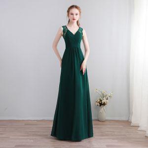 Simple Vert Foncé Longue Robe De Soirée 2018 Princesse V-Cou Chiffon Lacer Dos Nu Soirée Robe De Ceremonie