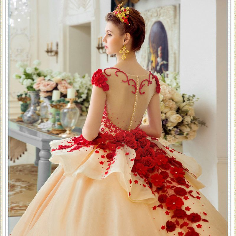 Luxury / Gorgeous Champagne Wedding Dresses 2017 Red Zipper Up Appliques Backless Embroidered Flower Pearl Rhinestone Handmade  Cathedral Train Organza Square Neckline Sleeveless Wedding