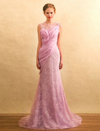 Beautiful Evening Dresses 2017 Scoop Neckline Ruffle Chiffon Lace Mermaid Long Dress