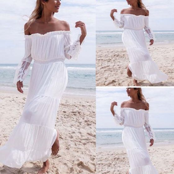 Chic / Beautiful Summer Beach White Chiffon Maxi Dresses 2018 Sheath / Fit Off-The-Shoulder Long Sleeve Ankle Length Ruffle Backless Womens Clothing