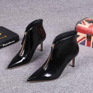 Mote Svart Gateklær Lær Kvinners støvler 2021 Patent Lær 9 cm Stiletthæler Spisse Ankel Boots