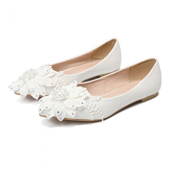 Hermoso Marfil Casual Con Encaje Flor Flat Zapatos De Mujer 2020 Rhinestone Punta Estrecha