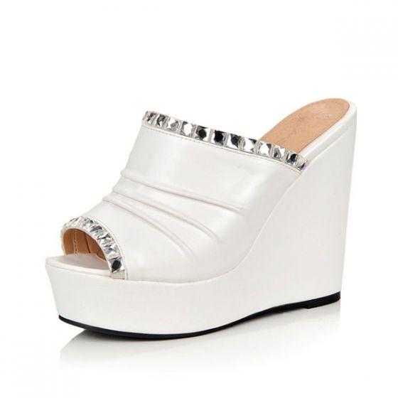 Chics Talons Compensés Blanc Des Femmes Des Chaussures De Dames Sandales En Simili-cuir Avec Strass